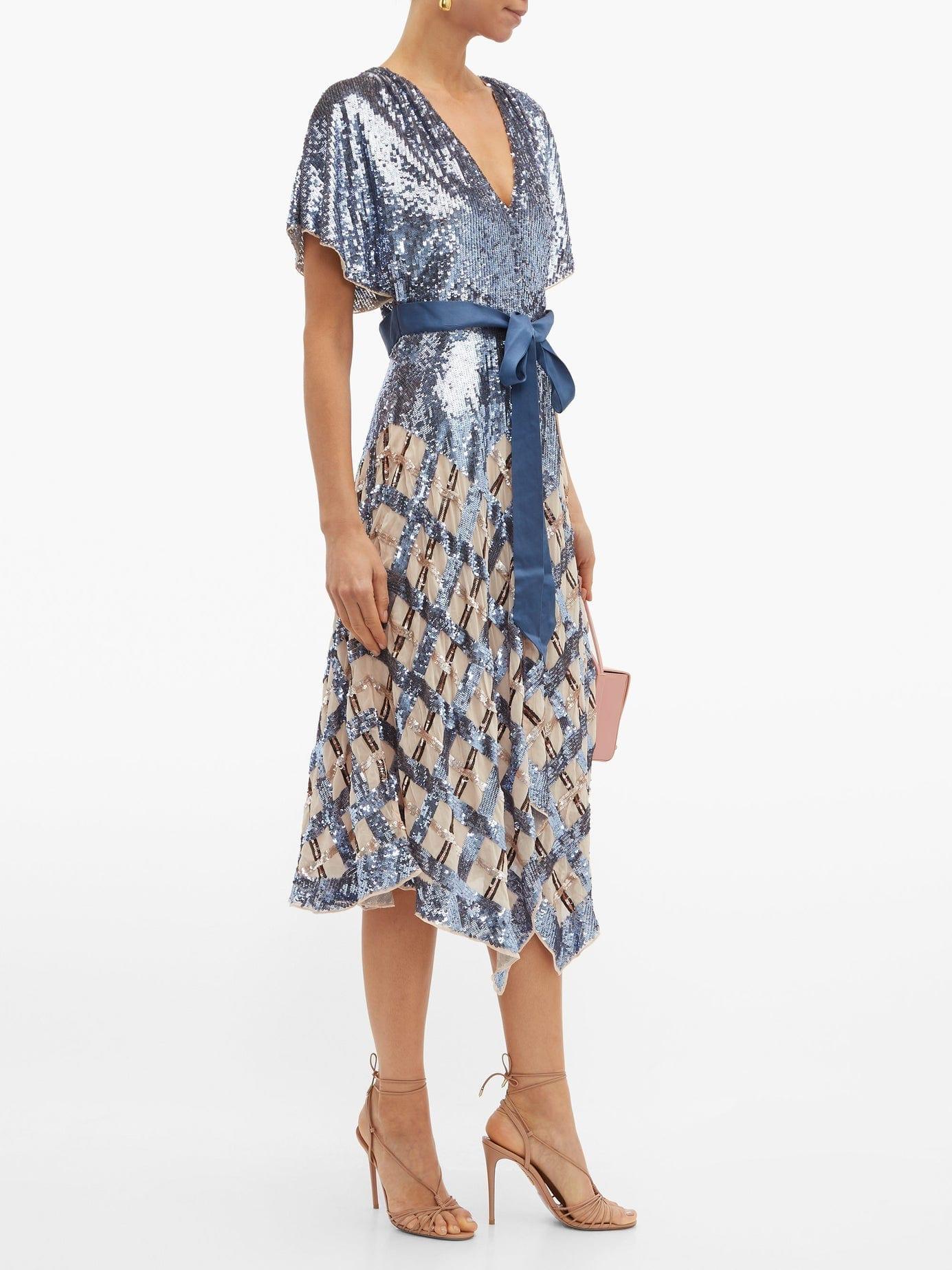 TEMPERLEY LONDON Akiko Sequinned Check Tulle Midi Blue Dress
