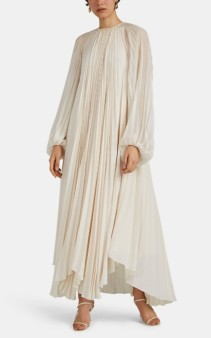 THE ROW Martina Pleated Crepe Ivory Dress