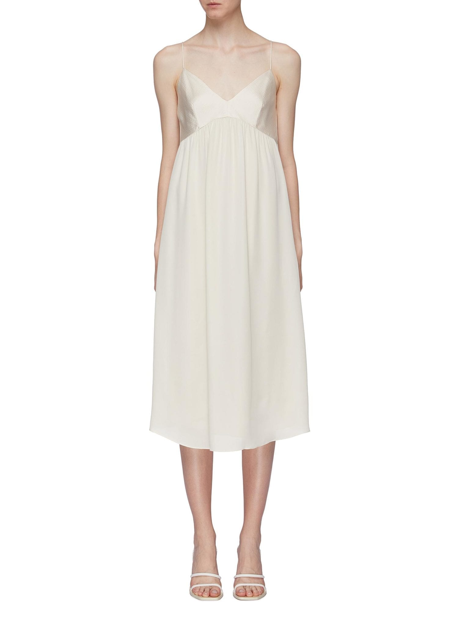 THEORY 'Combo' Contrast Bodice Silk Georgette Slip Dress