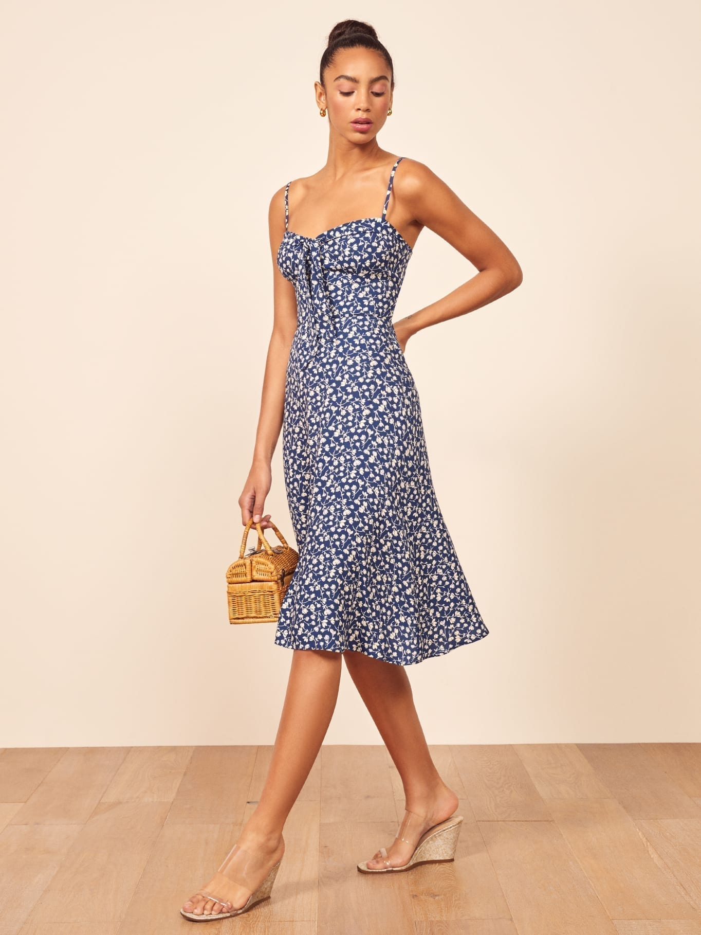 THEREFORMATION Addison Blue Dress