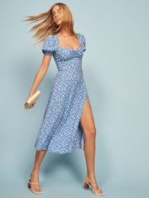 THEREFORMATION Lacey Blue Dress