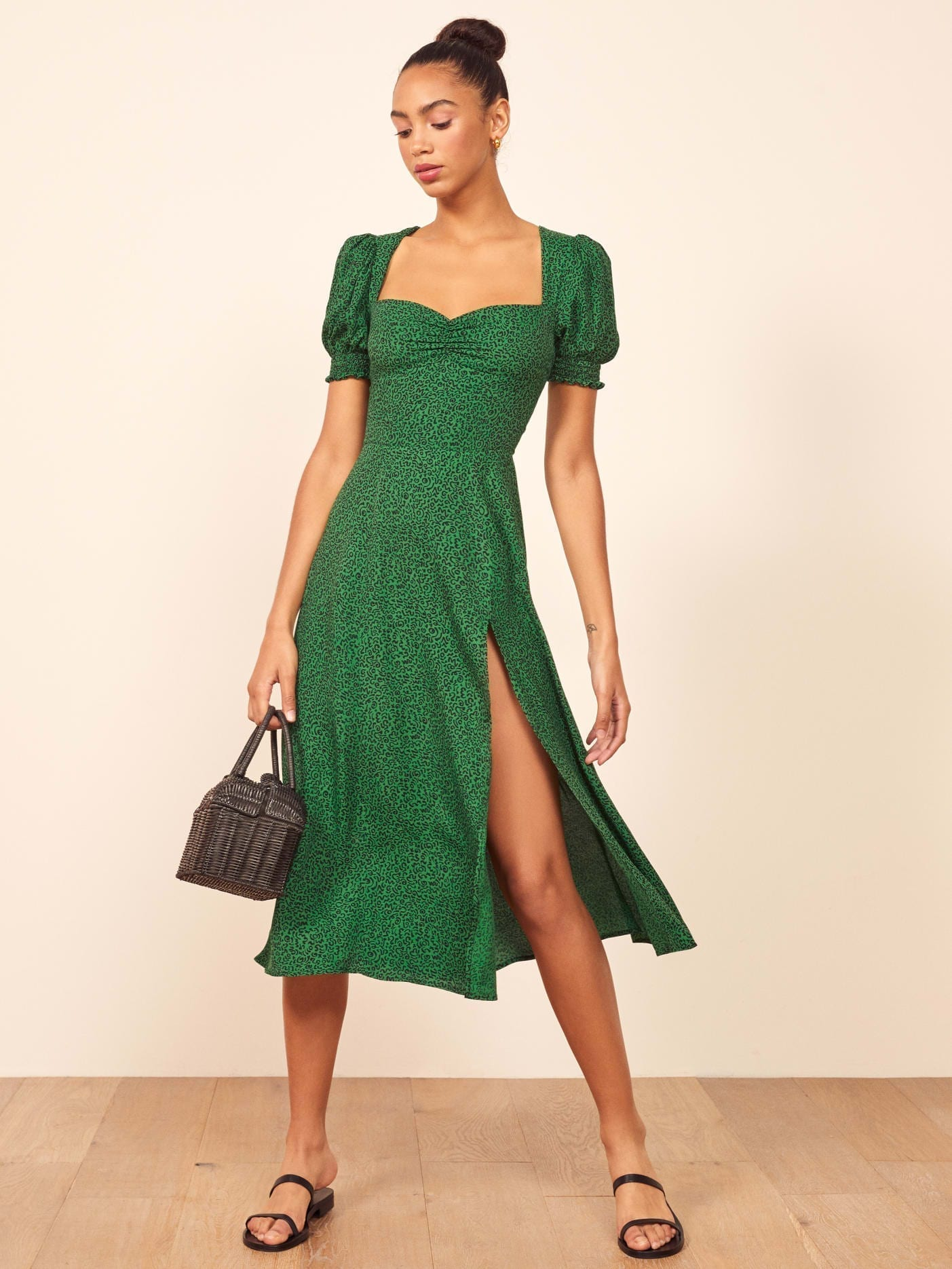 THEREFORMATION Lacey Green Dress