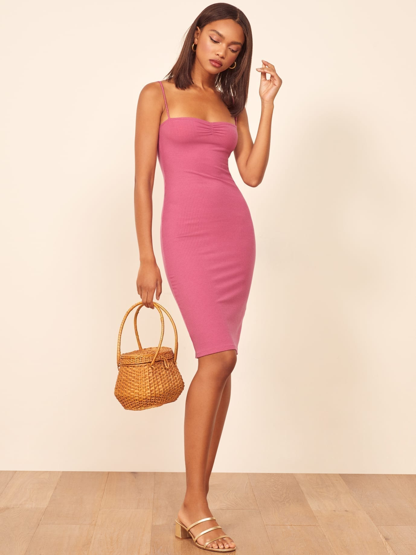 THEREFORMATION Mena Pink Dress