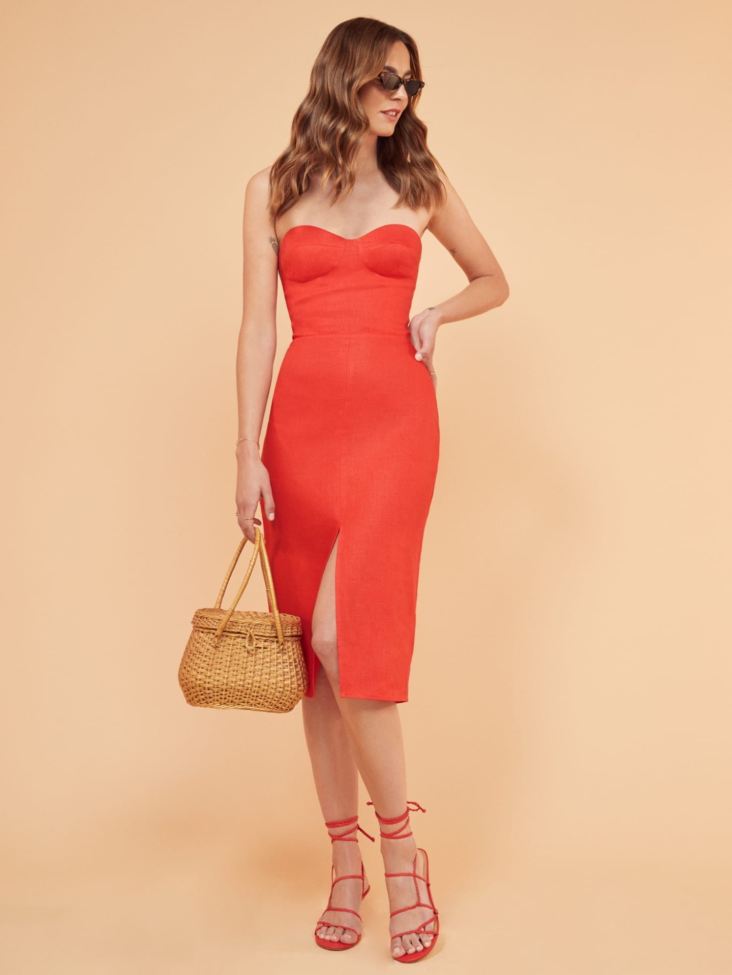 THEREFORMATION Oboe Red Dress