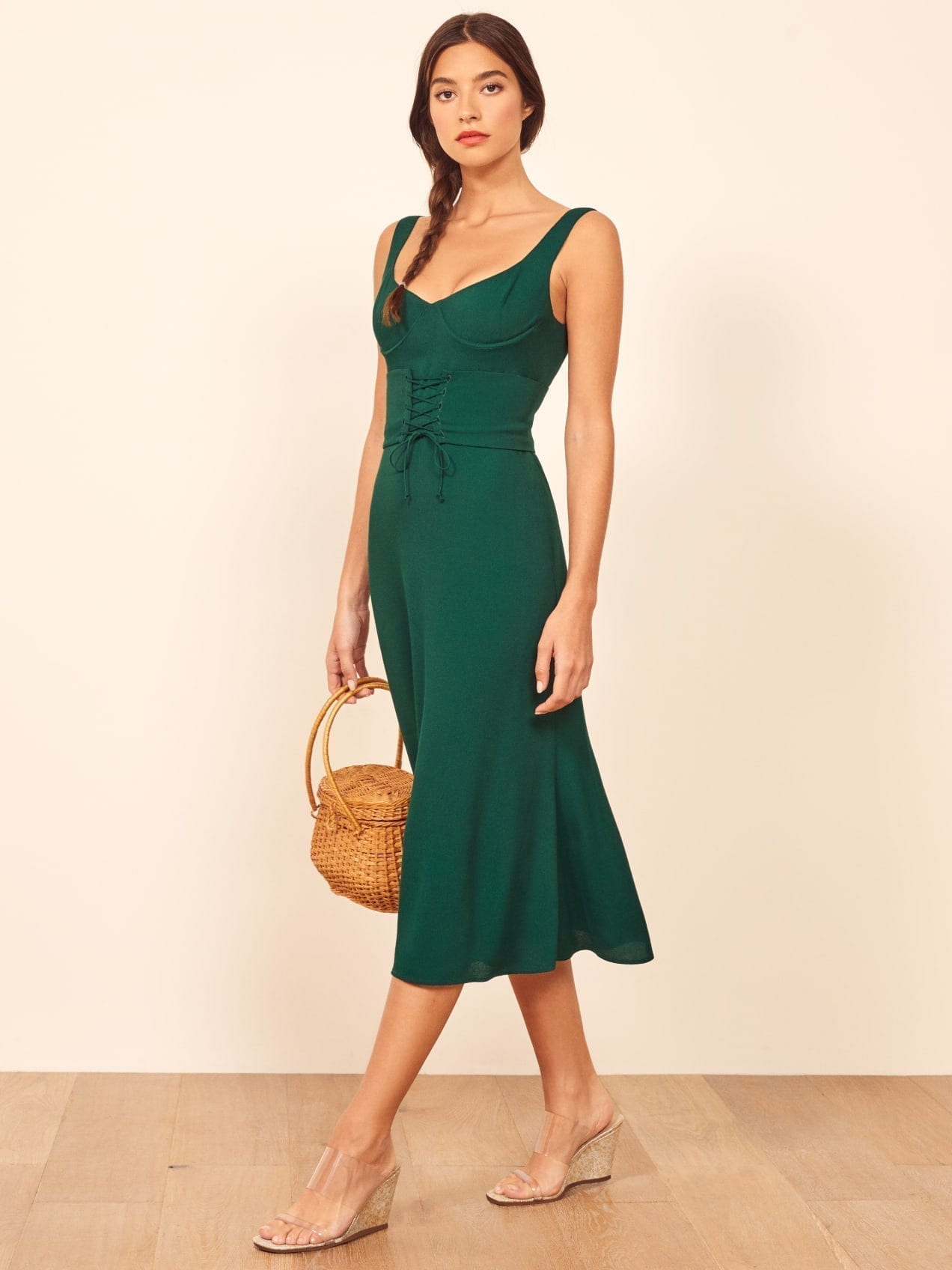 THEREFORMATION Sigrid Green Dress