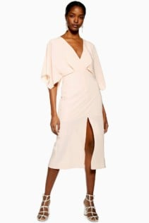TOPSHOP Batwing V-Neck Midi Dress