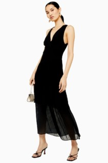 TOPSHOP Black Pleat Tiered Midaxi Dress