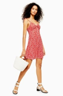 TOPSHOP Ditsy Twist Front Dress