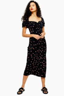 TOPSHOP Square Neck Floral Midi Dress