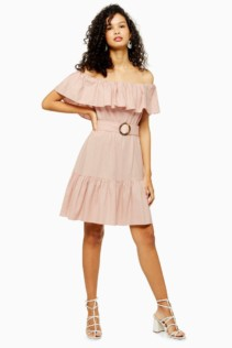 TOPSHOP TALL Ruffle Bardot Mini Dress