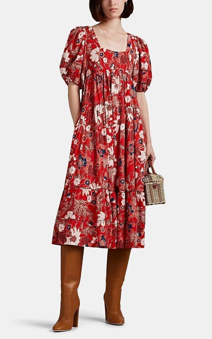 LLA JOHNSON Nora Floral Midi Red Dress