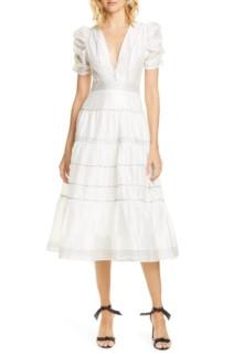 ULLA JOHNSON Odilie Midi White Dress