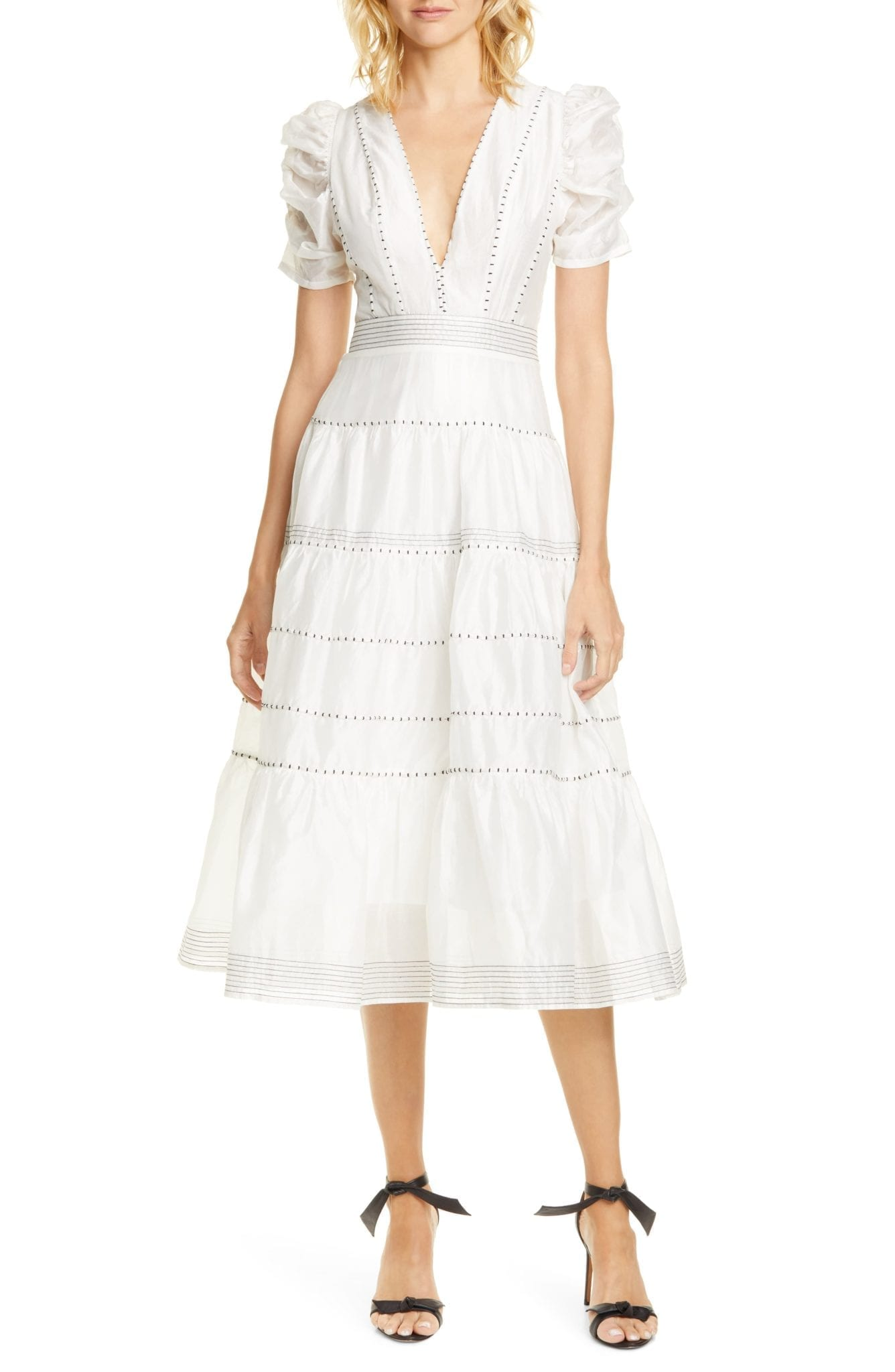 ULLA JOHNSON Odilie Midi White Dress