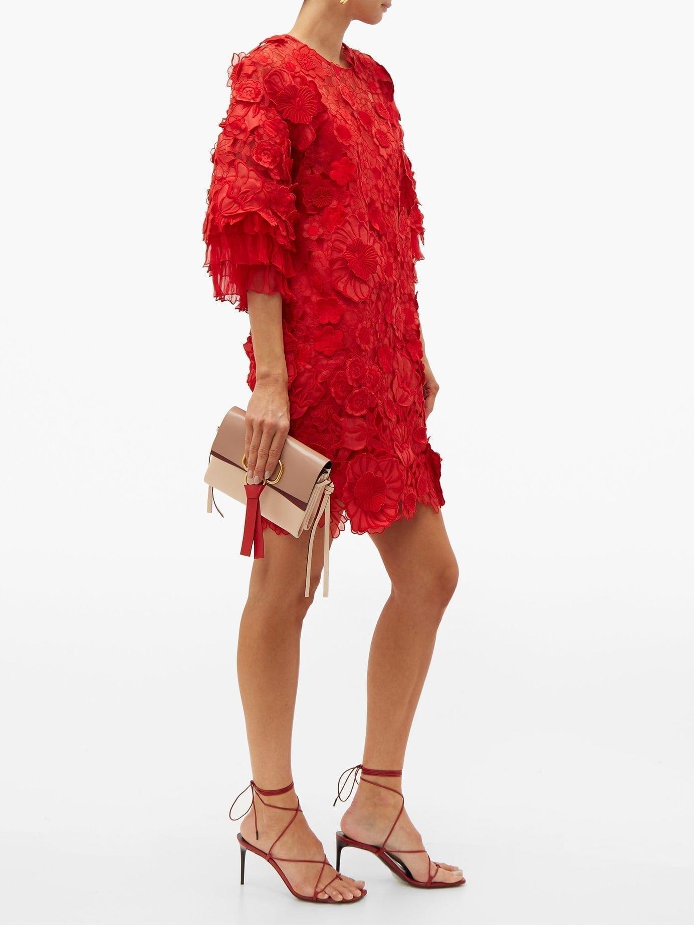 VALENTINO Guipure Floral Appliqué & Mesh Mini Red Dress