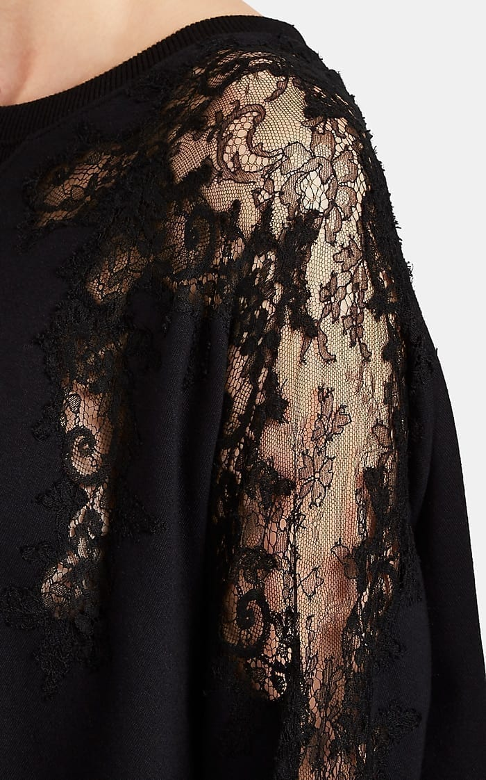 VALENTINO Lace-Inset Terry A-Line Black Dress