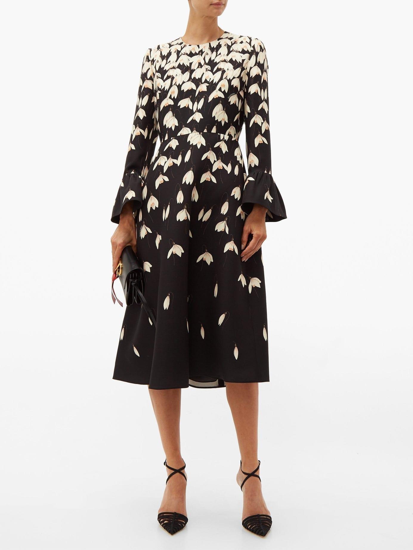 VALENTINO Snowdrop-Print Wool-Blend Crepe Midi Black Dress