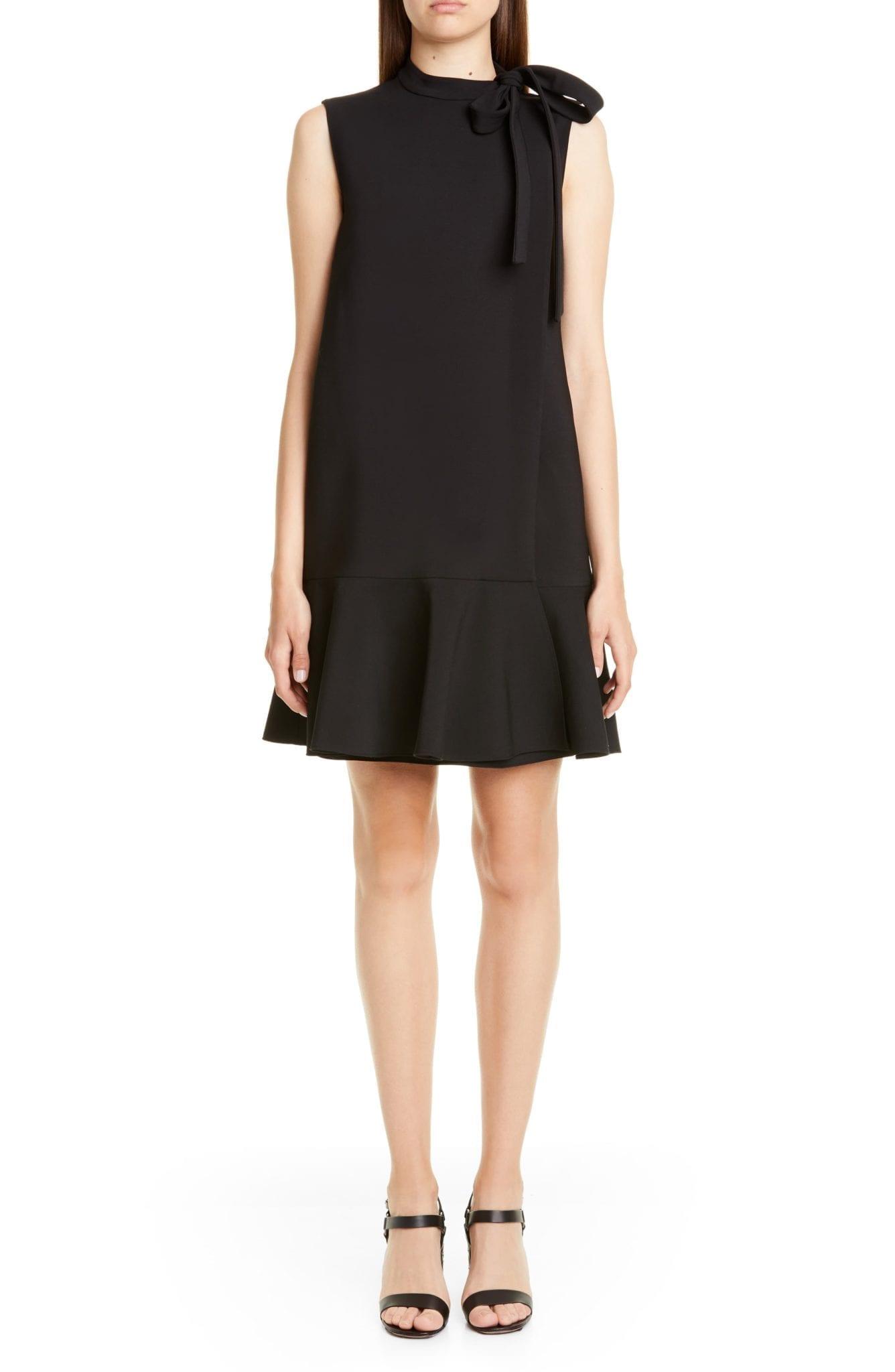VALENTINO Tie Neck Ruffle Hem Wool Blend Mini Black Dress