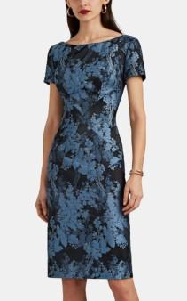 ZAC POSEN Floral Jacquard Blue Dress