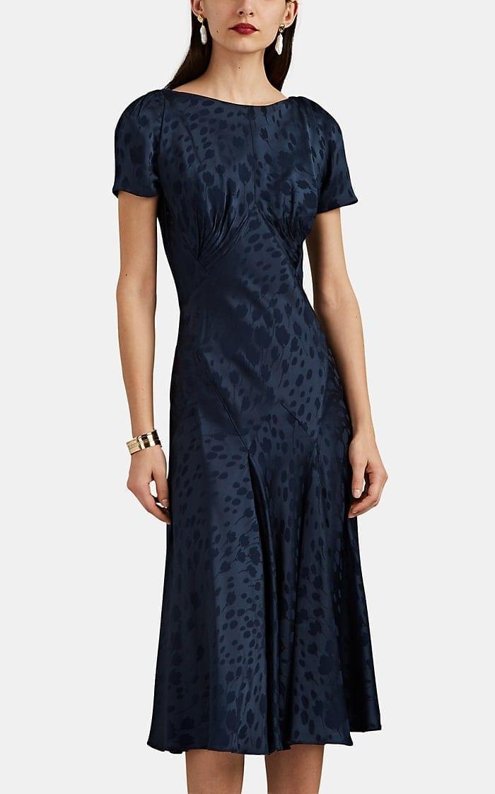 ZAC POSEN Floral Jacquard Midi Navy Dress