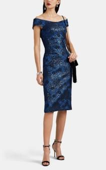 ZAC POSEN Metallic Floral Jacquard Off-The-Shoulder Blue Dress