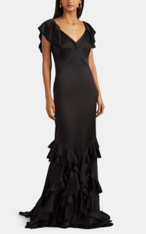 ZAC POSEN Ruffle-Trimmed Crepe Black Gown