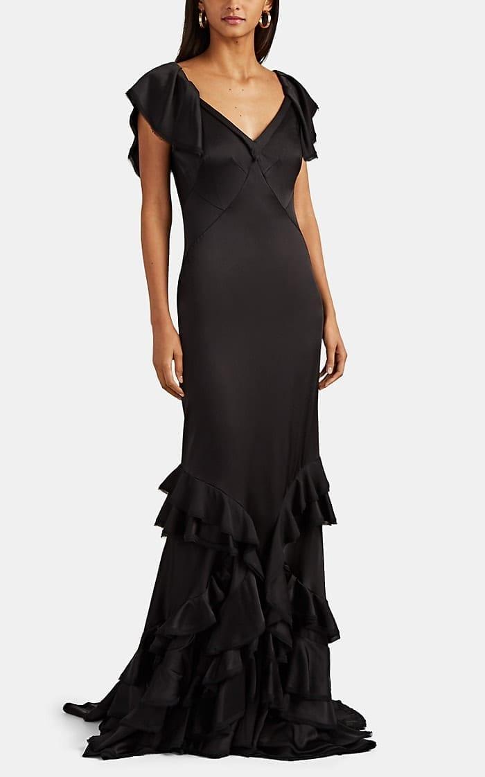 ZAC POSEN Ruffle-Trimmed Crepe Black Gown