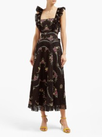 ZIMMERMANN Allia Floral Cross-Stitch Linen-Blend Midi Dress