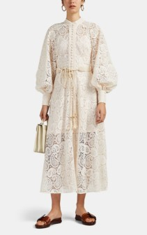 ZIMMERMANN Amari Paisley-Lace Belted Ivory Dress