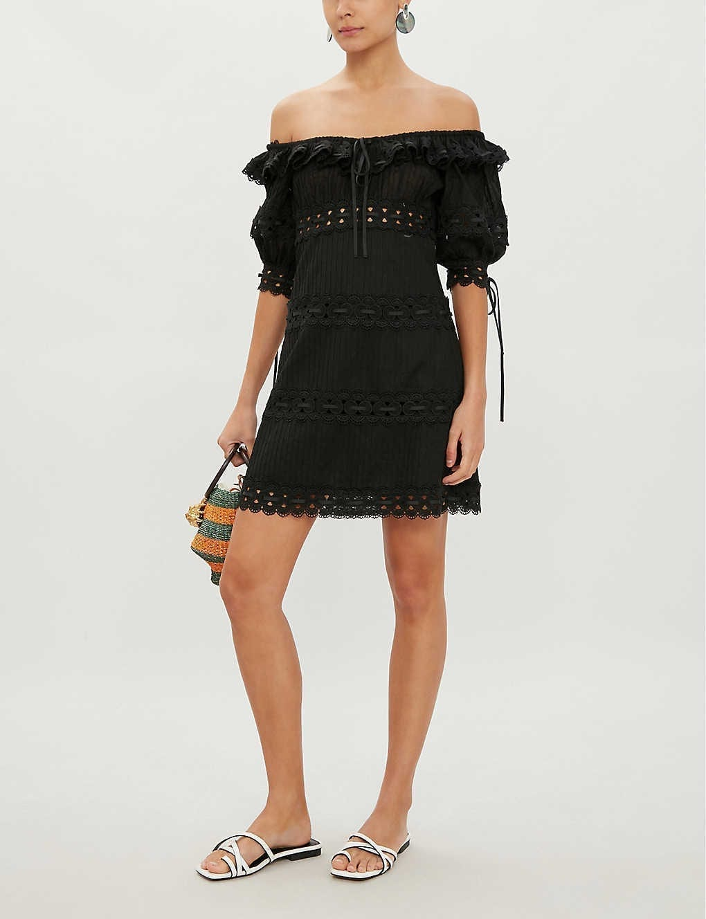 ZIMMERMANN Honour Pintuck Panel Cotton Black Dress