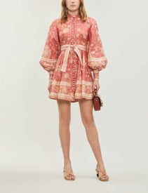 ZIMMERMANN Veneto Border Paisley-Print Linen Mini Red Dress