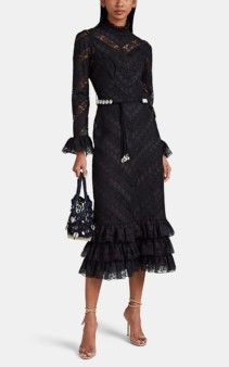 ZIMMERMANN Veneto Floral-Embroidered Lace & Voile Black Dress