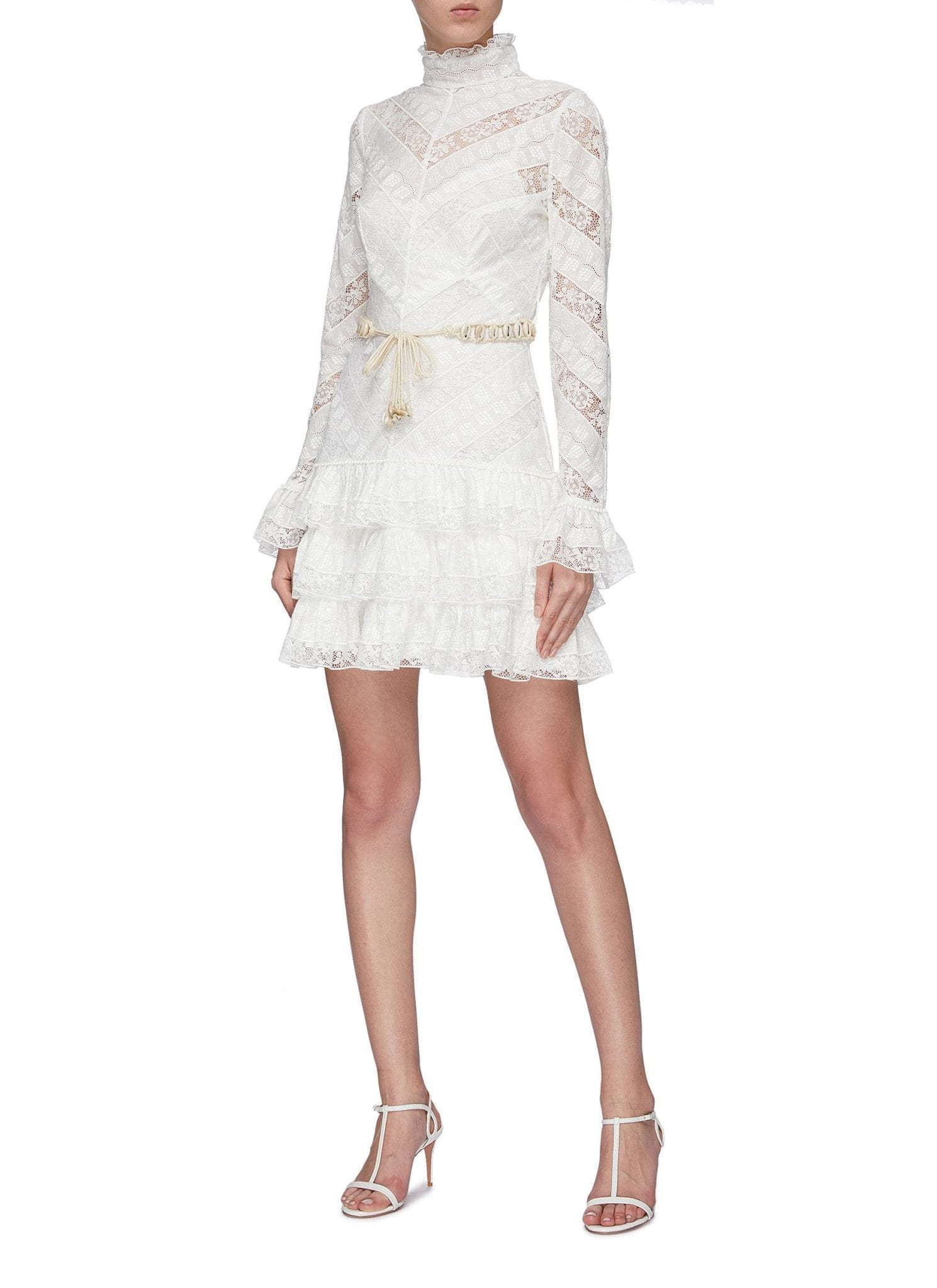 ZIMMERMANN 'Veneto Perennial' Chevron Lace Panel Ruffle Tiered Dress
