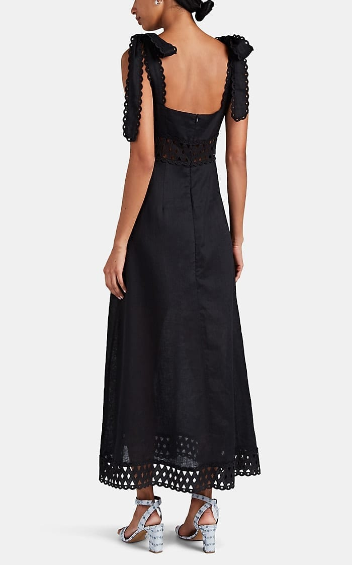 ZIMMERMANN Verity Eyelet-Trimmed Linen Picnic Black Dress
