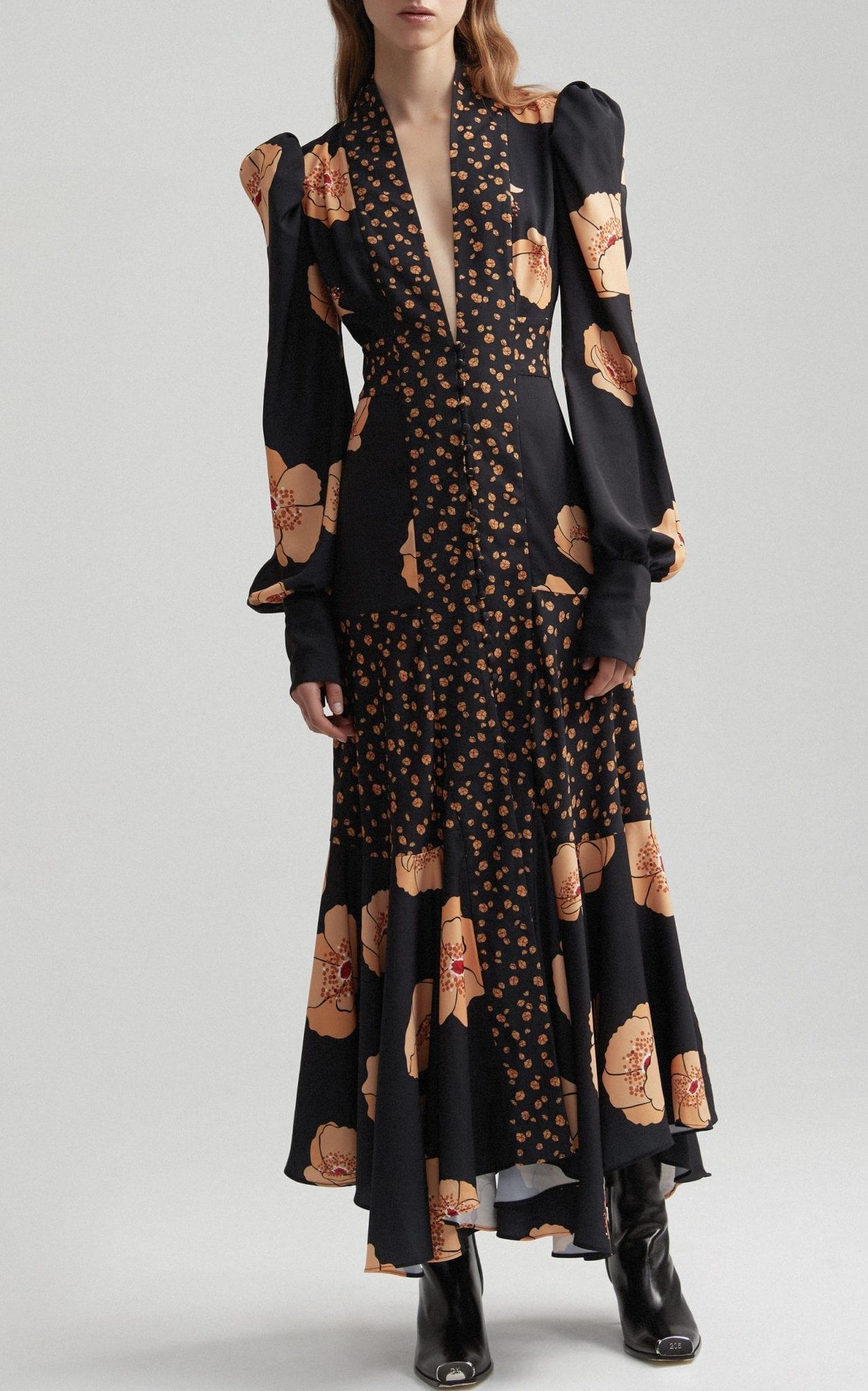 ACLER Elton Printed Crepe Maxi Dress