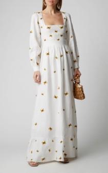 AGUA BY AGUA BENDITA Curuba Embroidered Linen Dress