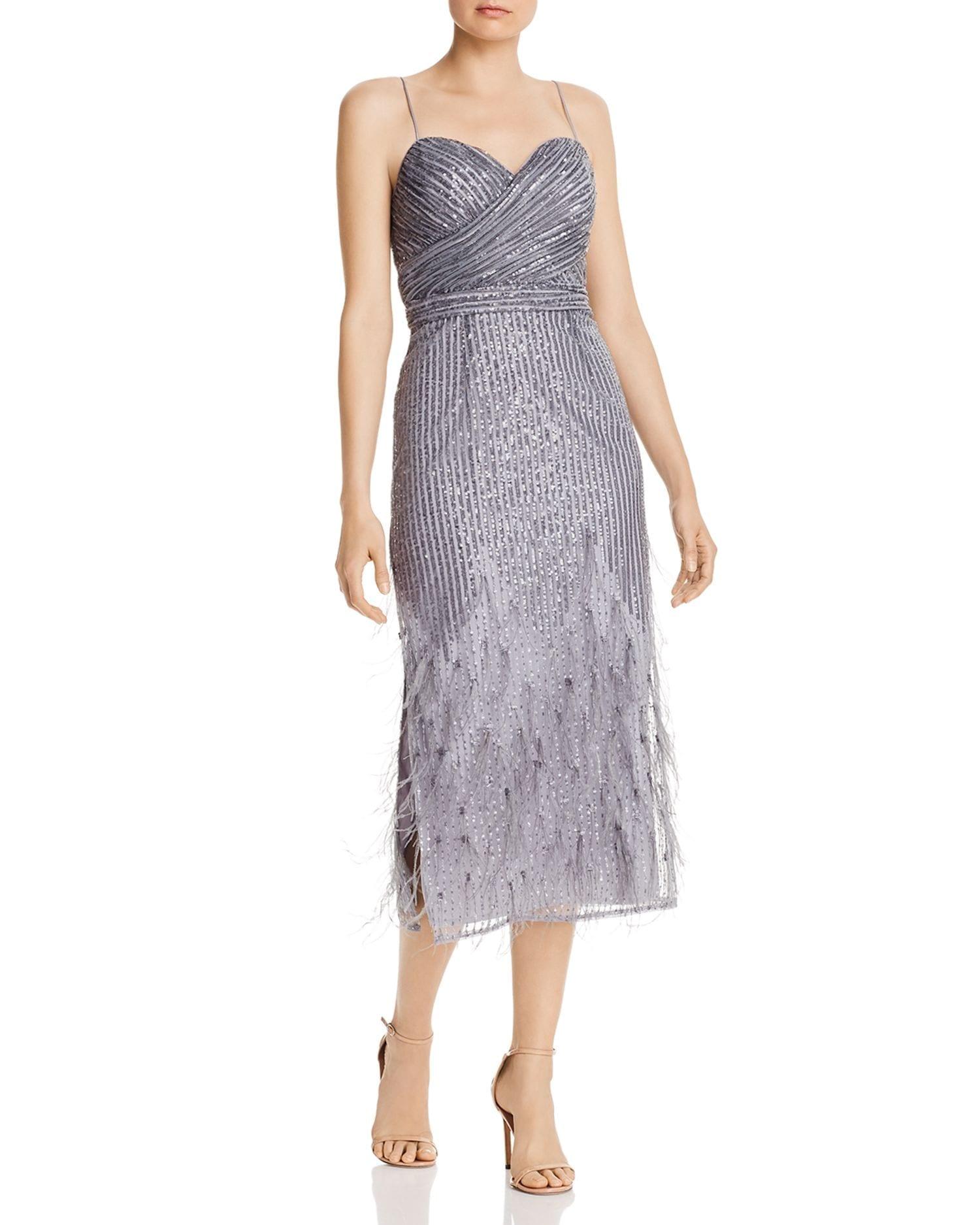 AIDAN MATTOX Sequin & Feather Midi Dress