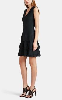 ALAÏA Wool-Blend Compact Knit Tiered Mini Dress