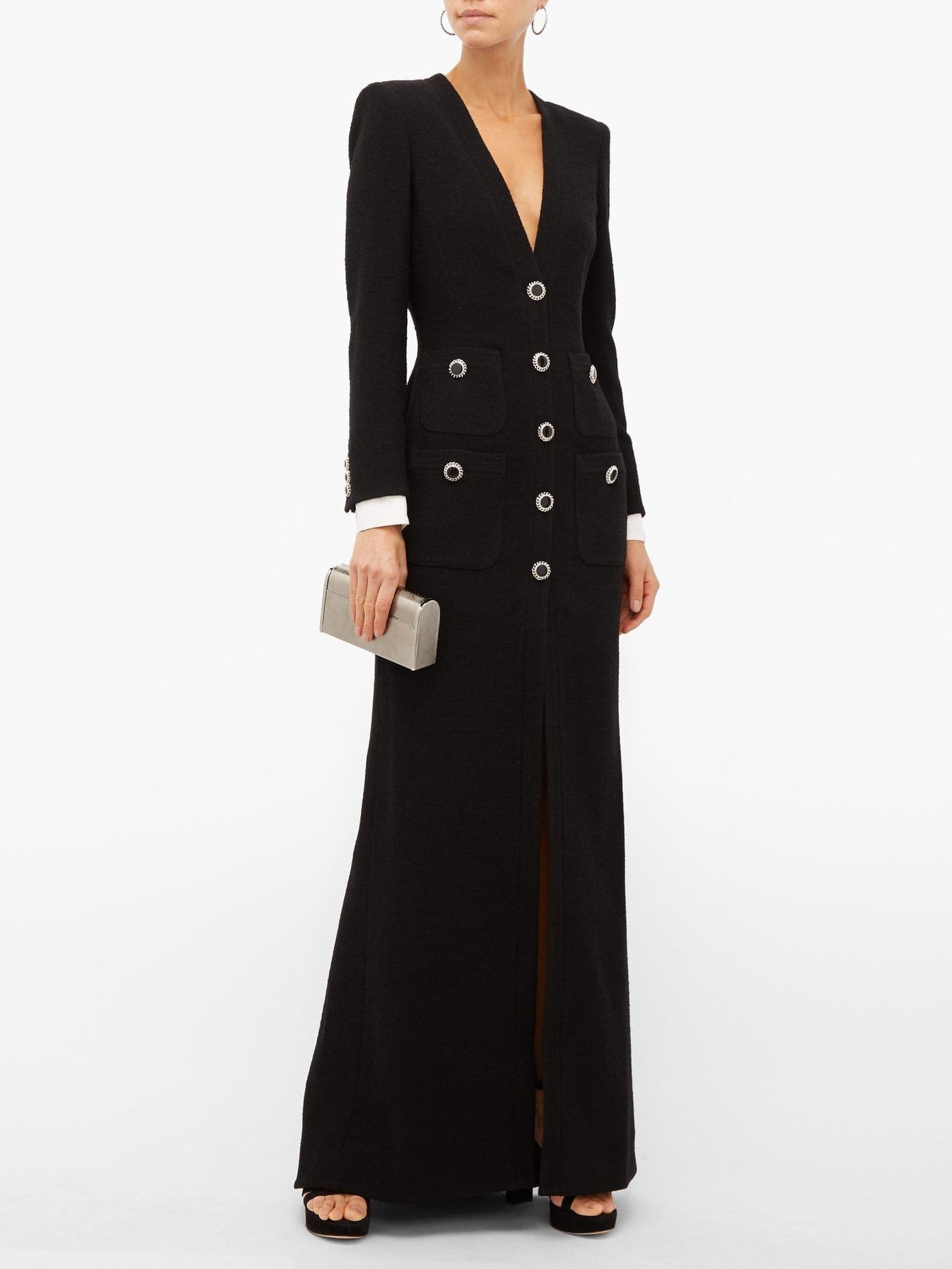 ALESSANDRA RICH Embellished Tuxedo-style Wool-blend Gown
