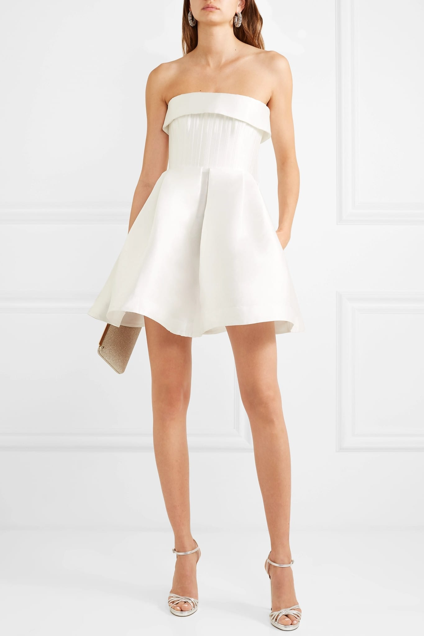 ALEX PERRY Elyse Strapless Silk-faille Mini Dress