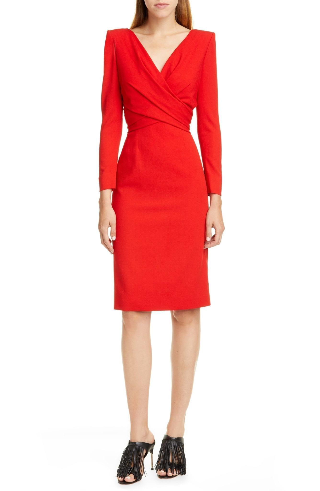 ALEXANDER MCQUEEN Long Sleeve Stretch Wool Crepe Wrap Front Dress