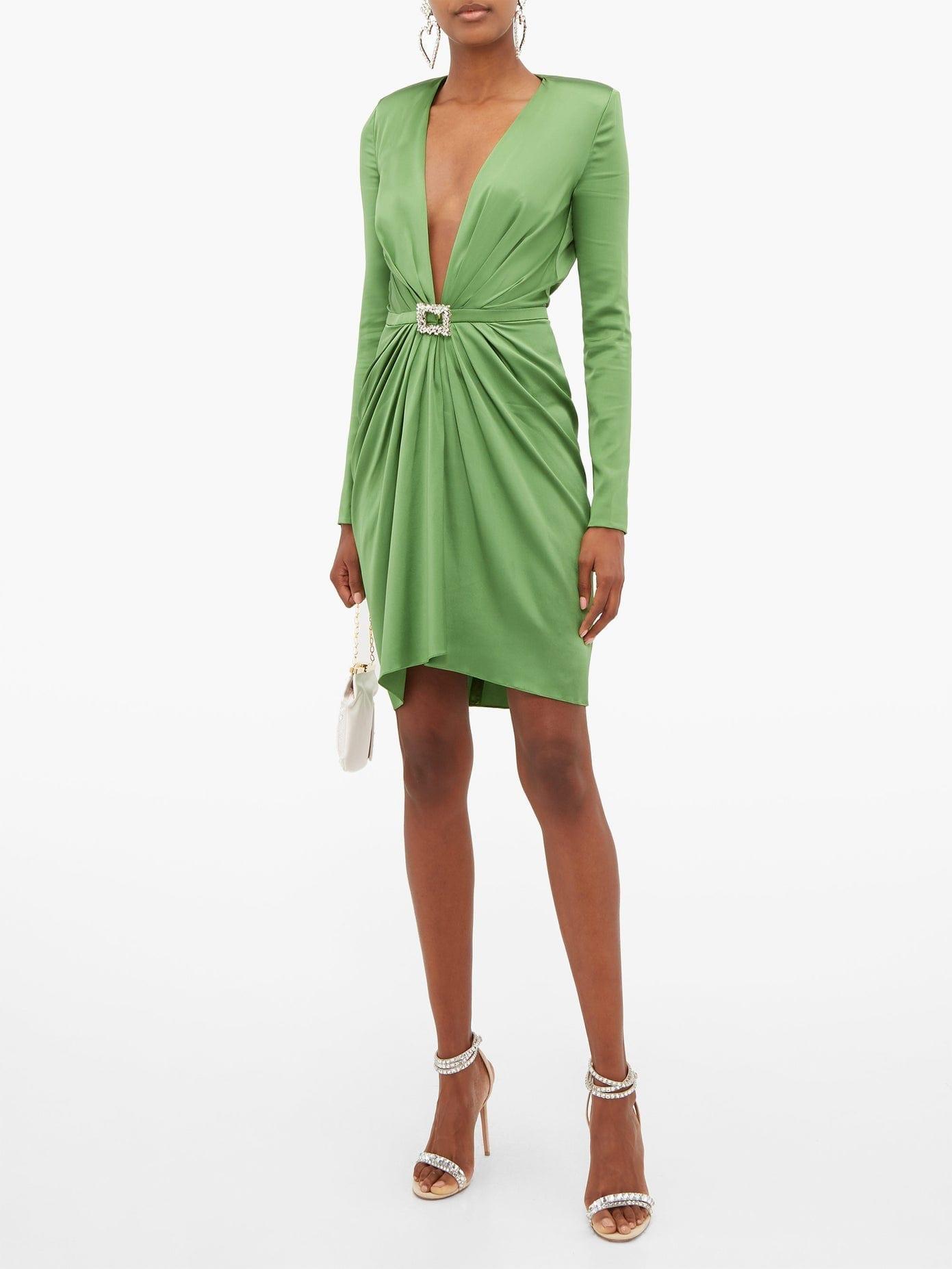 ALEXANDRE VAUTHIER Crystal-buckle Silk-blend Charmeuse Mini Dress