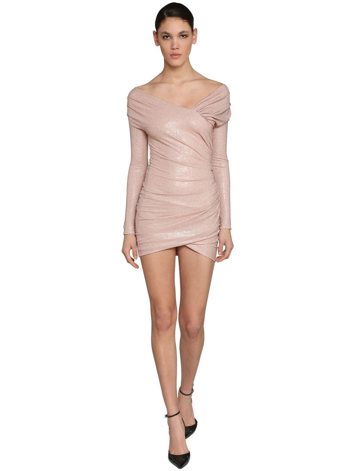 ALEXANDRE VAUTHIER Embellish Off Shoulder Jersey Mini Dress