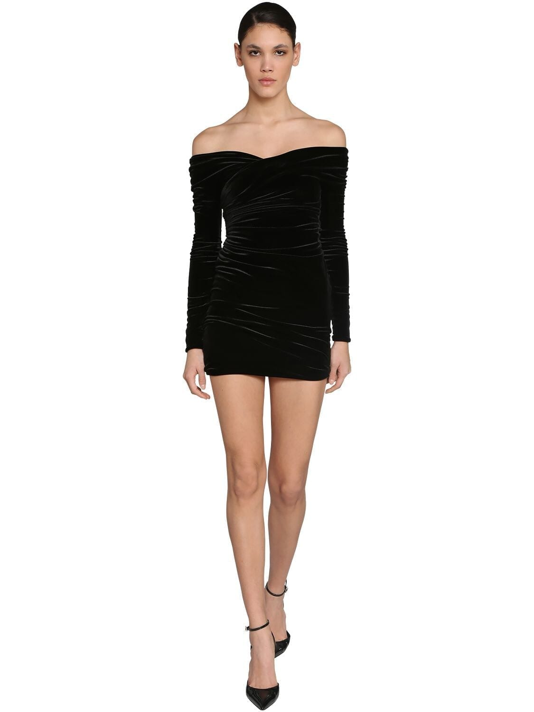 ALEXANDRE VAUTHIER Off Shoulder Stretch Velvet Mini Dress