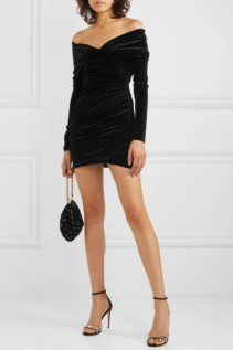 ALEXANDRE VAUTHIER Off-the-shoulder Ruched Velvet Mini Dress