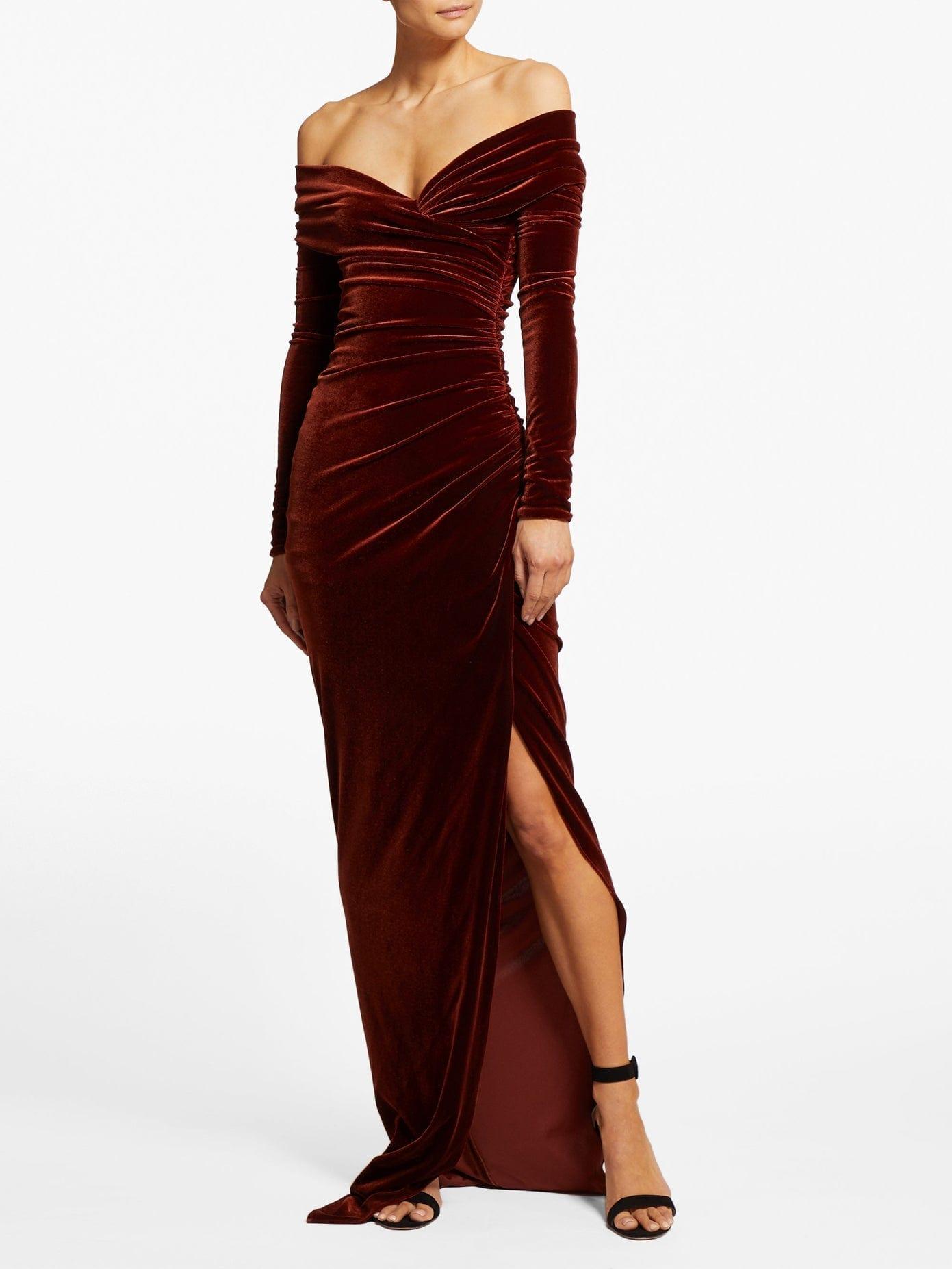 ALEXANDRE VAUTHIER Off-the-shoulder Sweetheart Velvet Dress