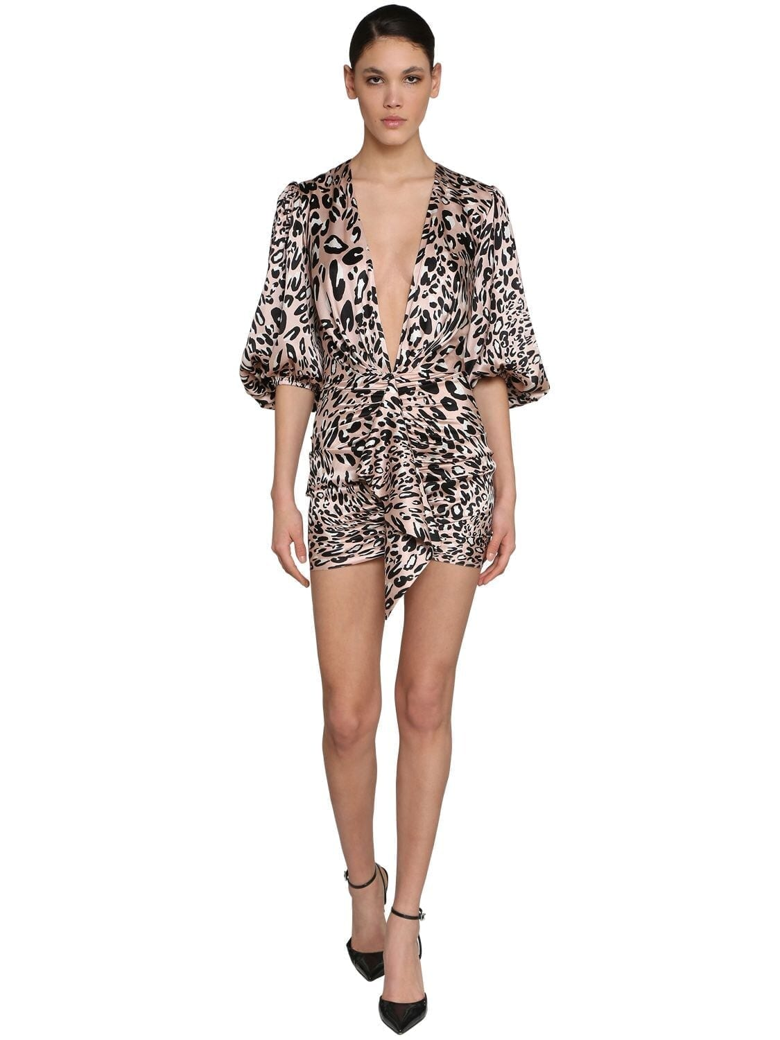 ALEXANDRE VAUTHIER Printed V Neck Stretch Satin Mini Dress