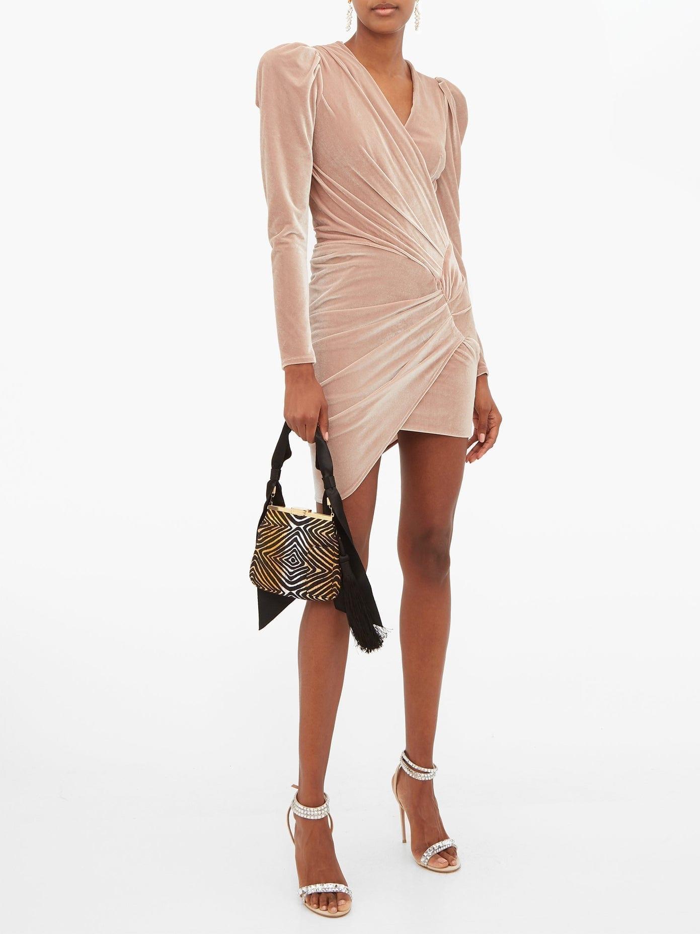 ALEXANDRE VAUTHIER Puff-sleeve Wrap-style Velvet Mini Dress