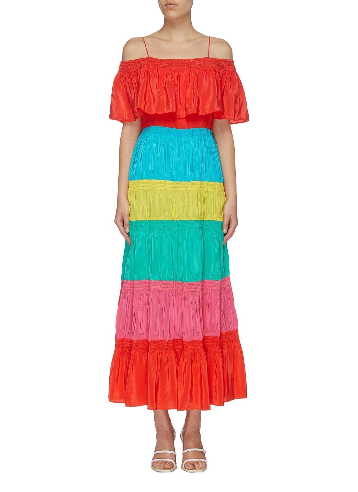 ALICE + OLIVIA 'kia' Colourblock Smocked Tiered Maxi Off-shoulder Dress