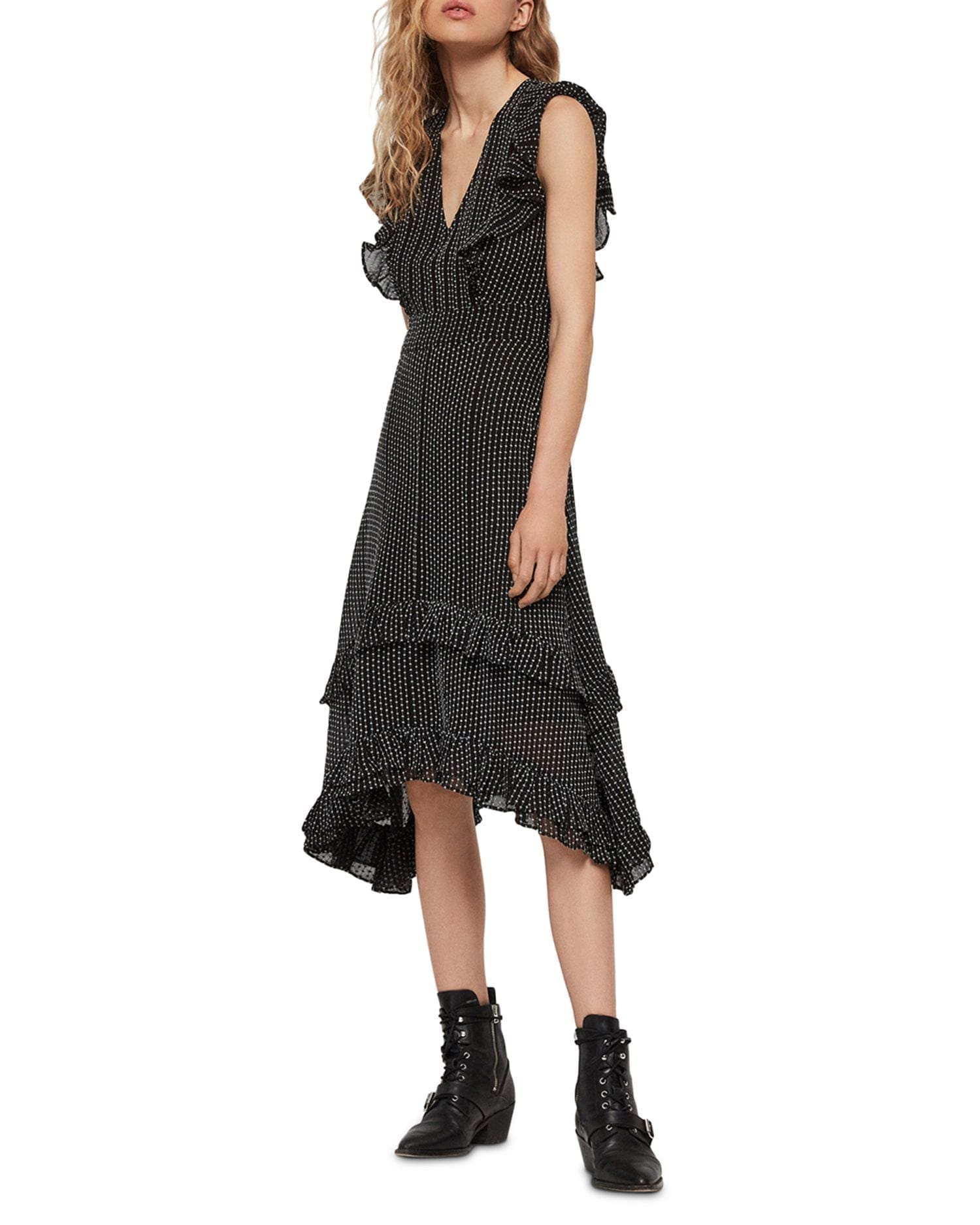 ALLSAINTS Evia Embroidered & Ruffled Midi Dress