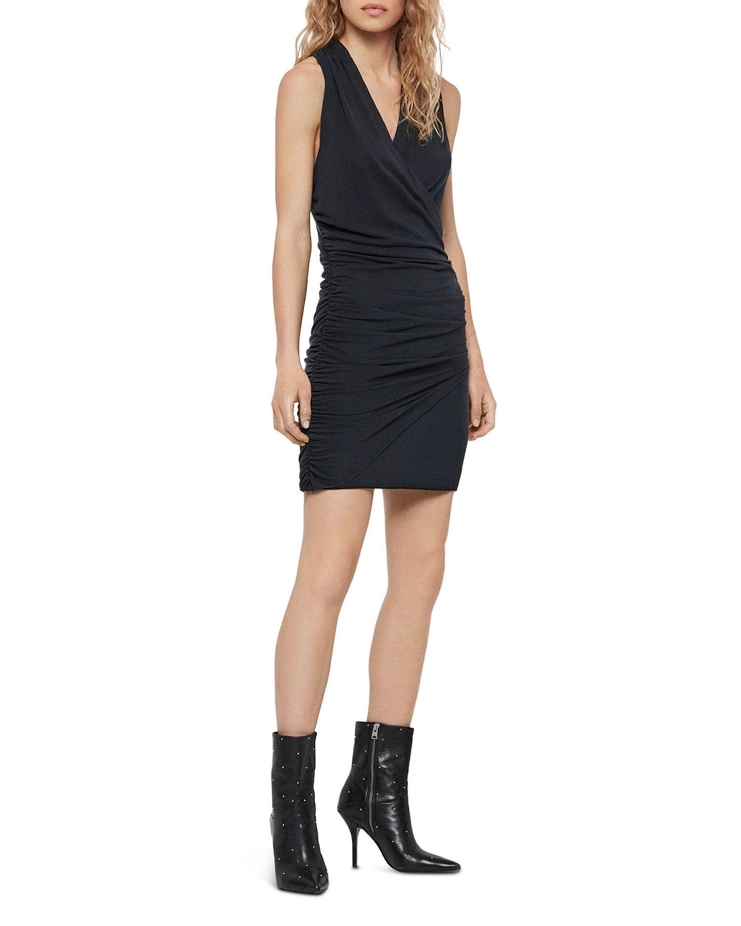ALLSAINTS Nirman Ruched Crossback Mini Dress